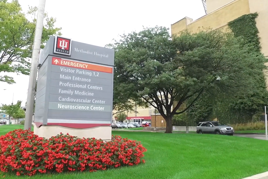 An outside photo of the IU Poison Center in Indianapolis.