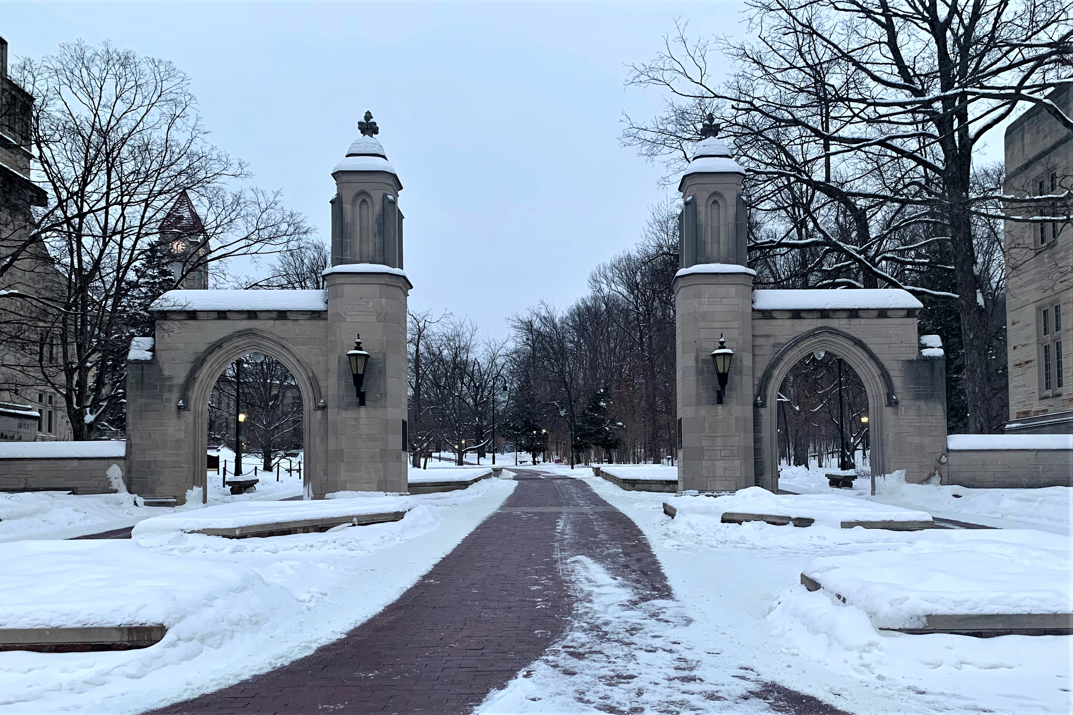 Sample Gates at Indiana University Bloomington campus in the winter/snow, Feb 2021.