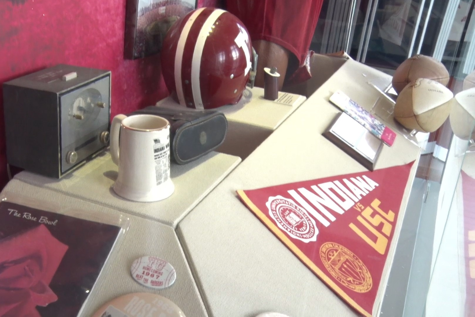 Memorabilia from Indiana's appearance in the 1967 Rose Bowl is on display in IU's Heinke Hall of Champions.
