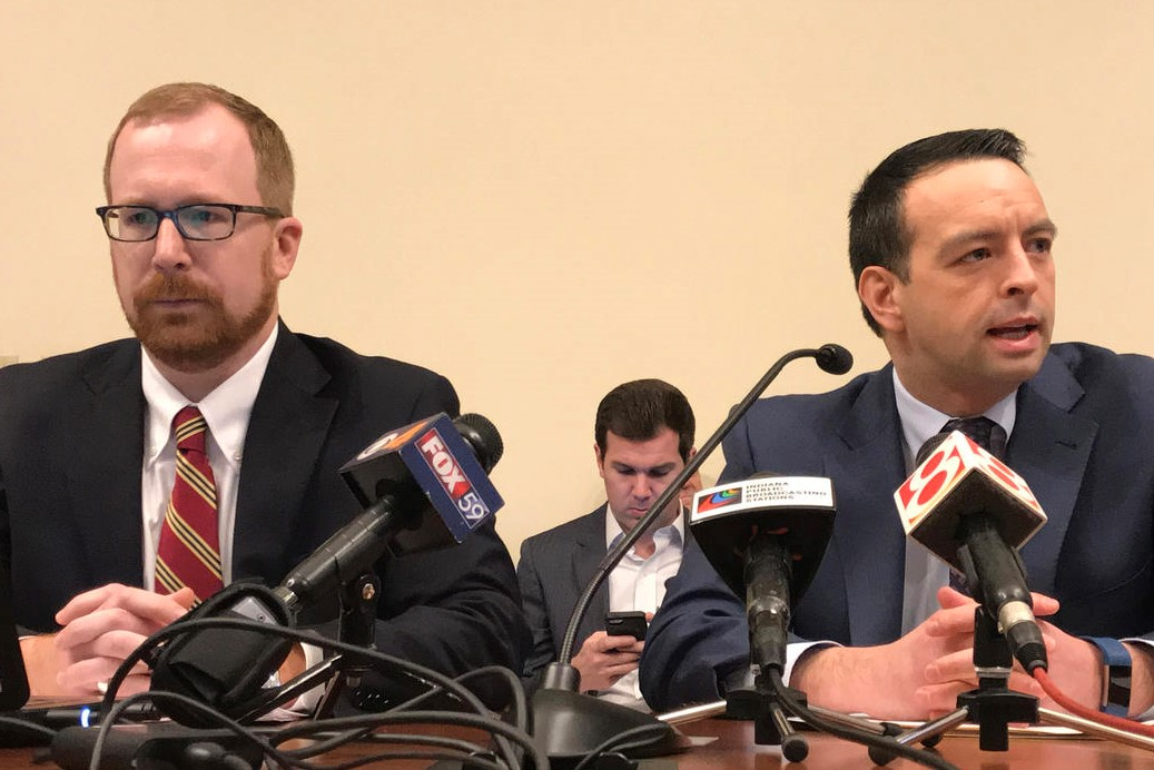 State Budget Director Jason Dudich, left, and Office of Management and Budget Director Micah Vincent, right.
