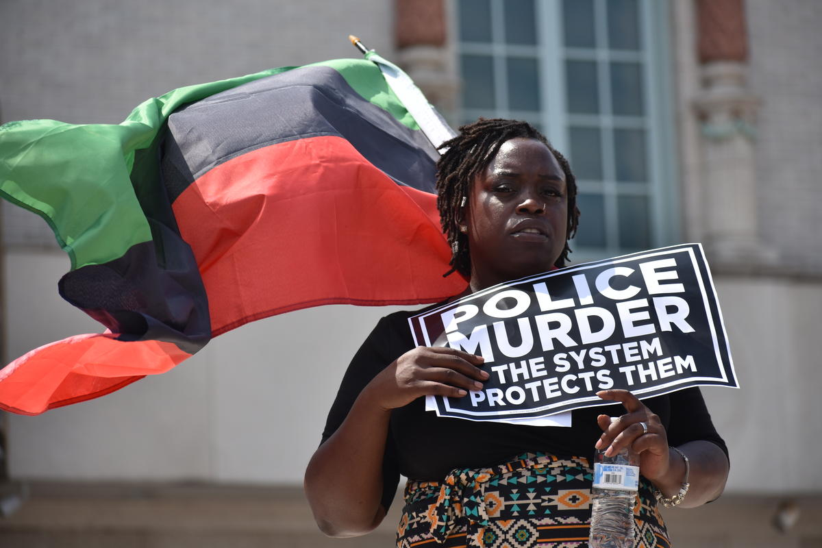 A protester at the Black Lives Matter demonstration on Saturday, July 15 in South Bend.
