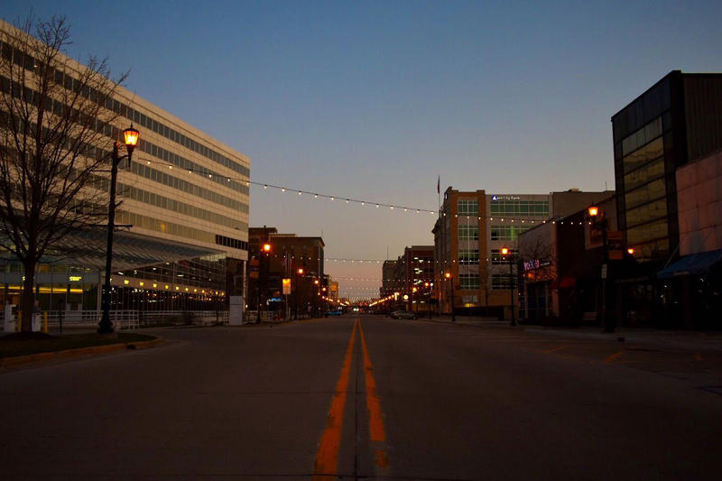 A usually busy street in downtown South Bend is empty due to the COVID-19 pandemic.