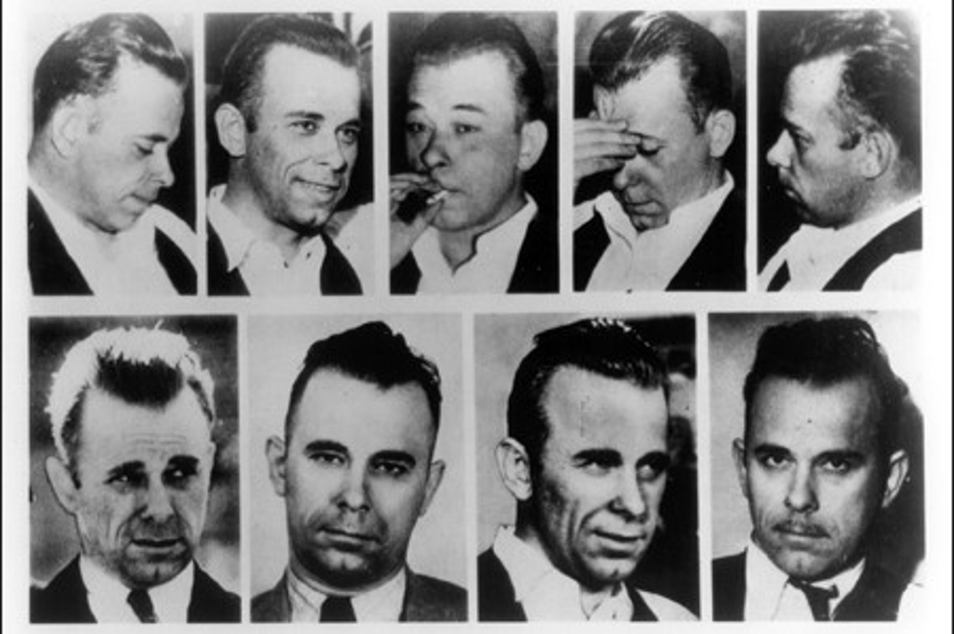 The many faces of gangster John Dillinger.