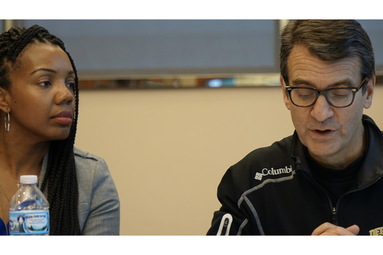 IPS Superintendent Aleesia Johnson listens to Michael O'Connor, school district Board of Commissioners president, during a January 2020 meeting.