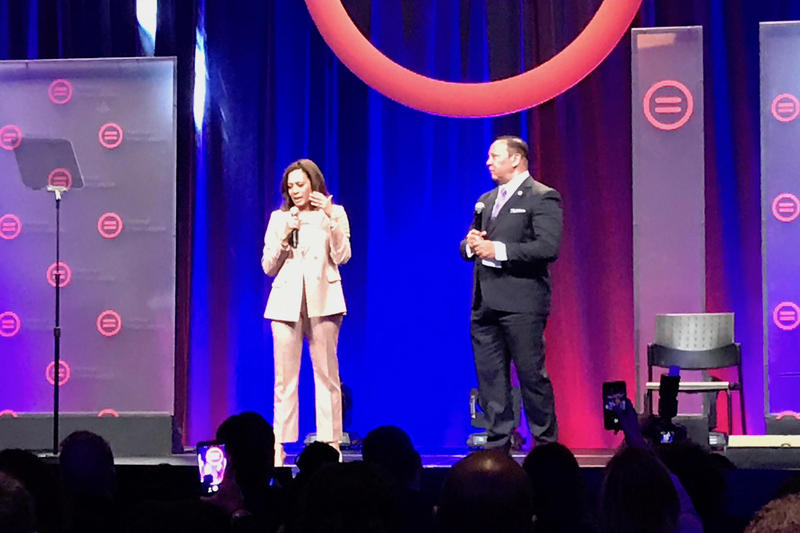 U.S. Sen. Kamala Harris (D-Calif.) does a Q&A with National Urban League President Marc Morial at the League's conference in Indianapolis.