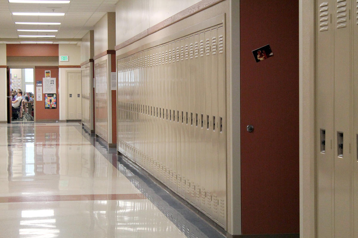 A generic shot of lockers at a high school.