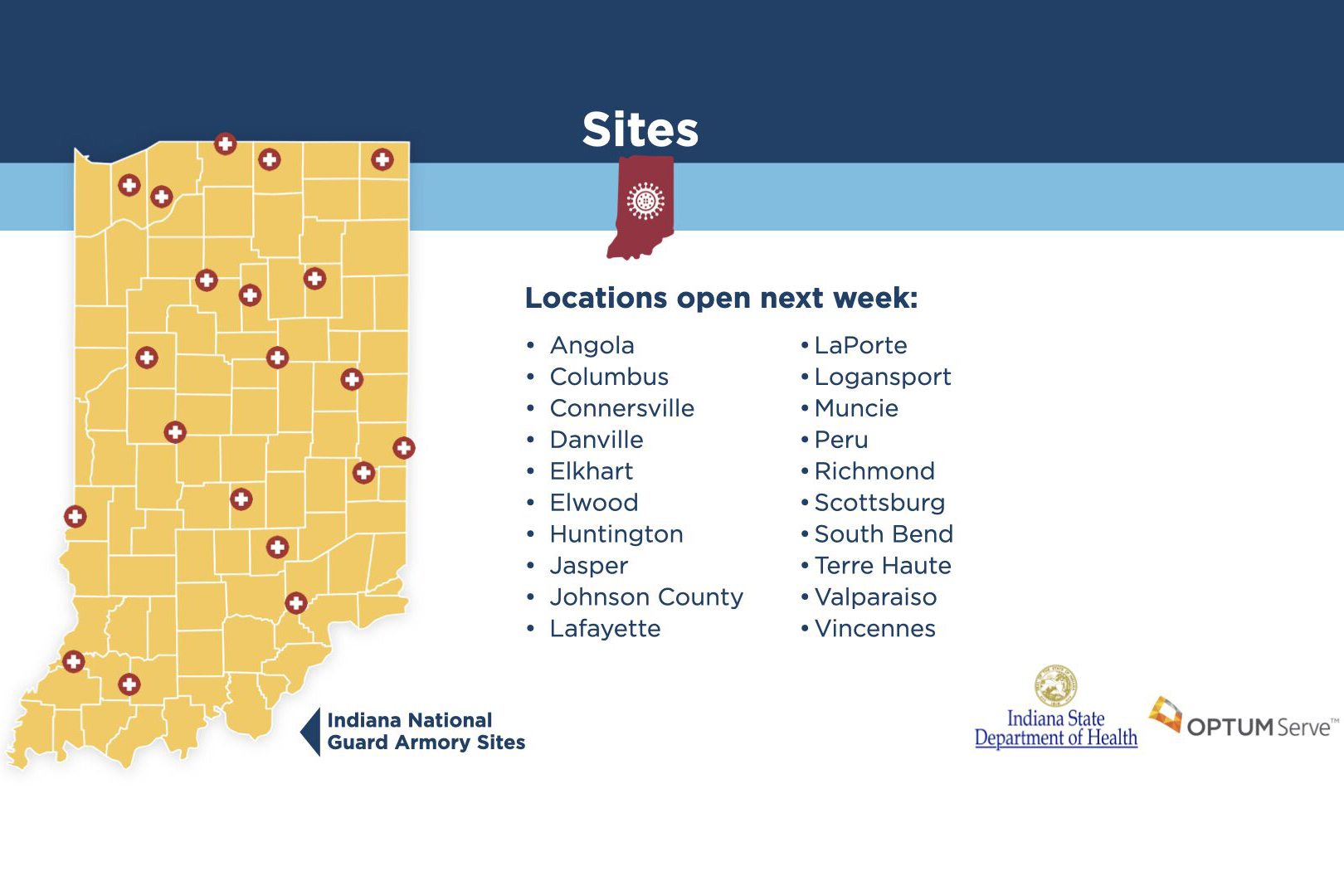 OptumServe Health Services will set up 20 COVID-19 testing sites around the state within the next week, with 50 total sites within two weeks.