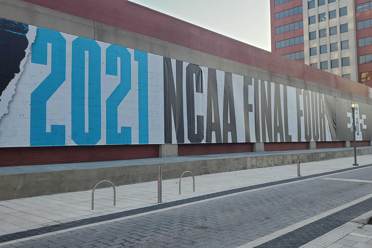 Signage for March Madness along Georgia Street ahead of the tournament.