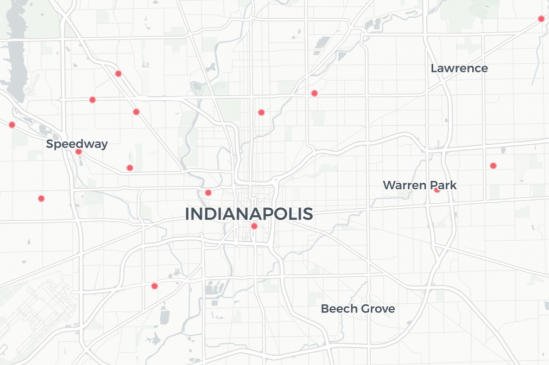 A map showing some of the COVID-19 testing sites in and around Indianapolis.
