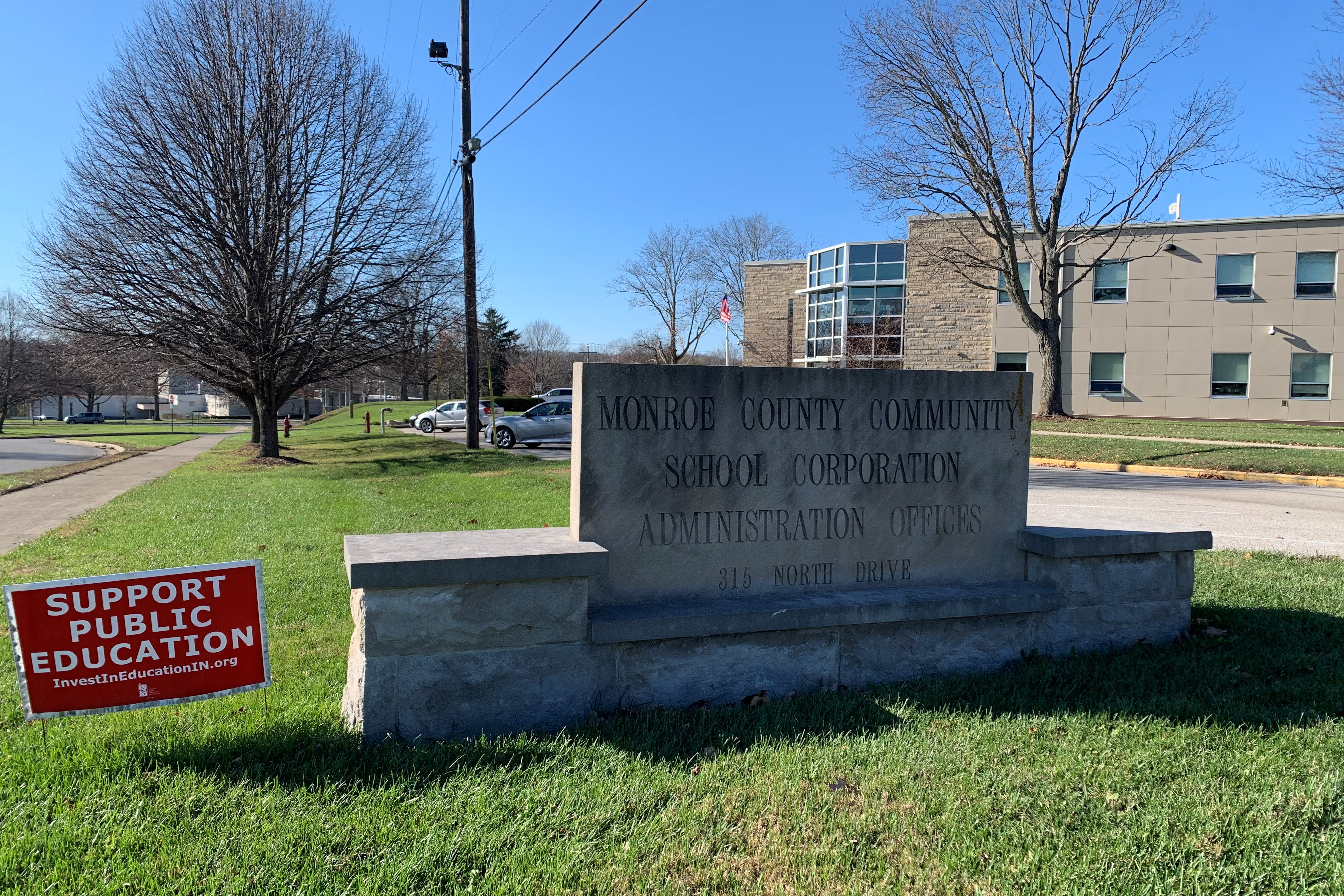 A photo of the sign outside MCCSC administrative offices.