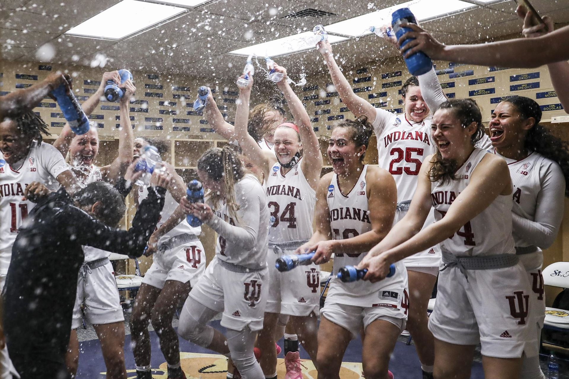 Courtesy: IU Athletics, The IU women's basketball team celebrates the program's first ever Sweet Sixteen.
