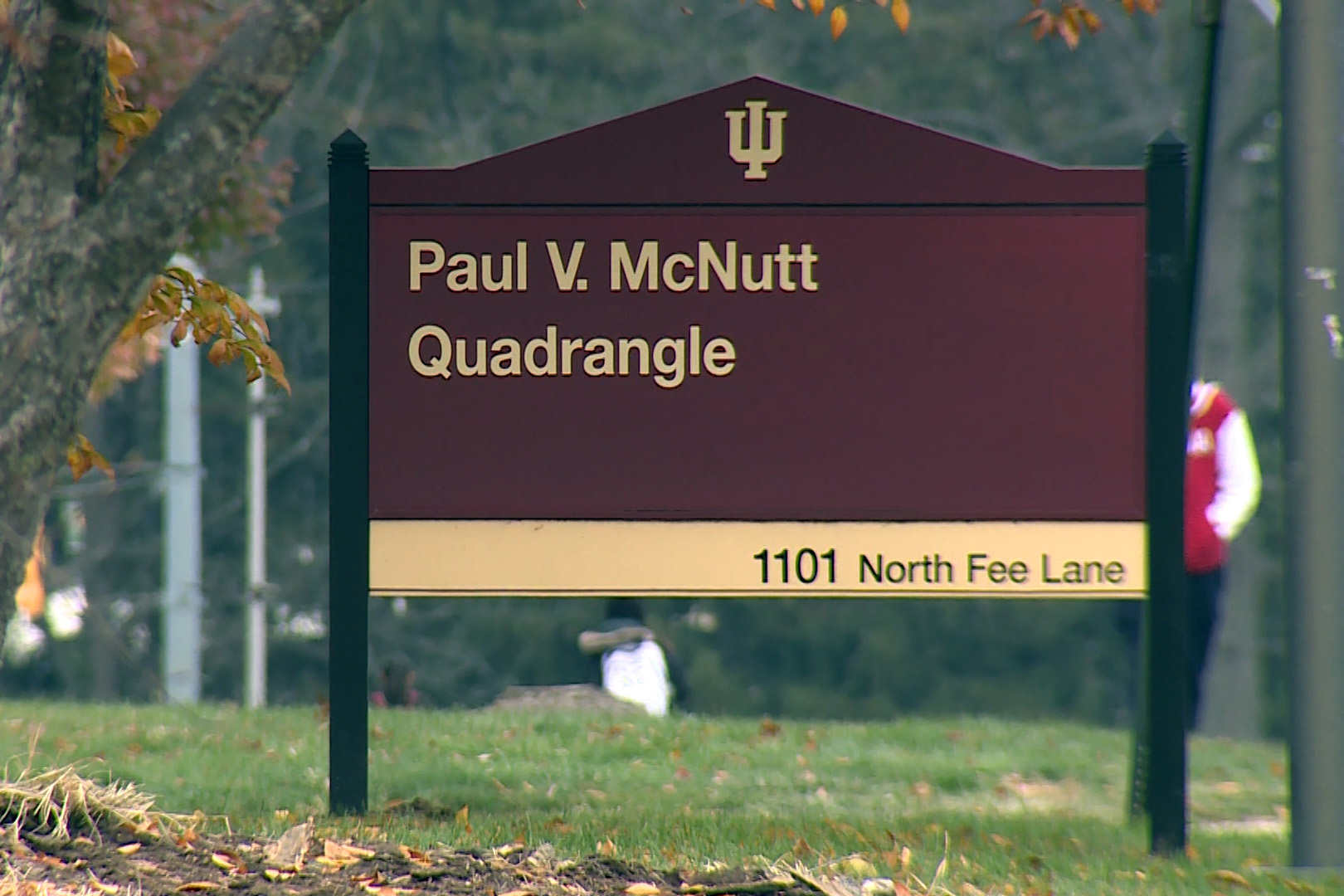 The sign for McNutt Residence Hall at Indiana University-Bloomington.
