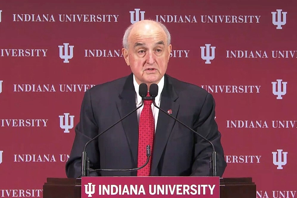 IU President Michael McRobbie speaks at the annual State of the University address, Sept. 24, 2019.