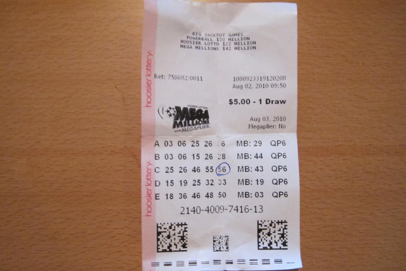 A mega millions lottery ticket