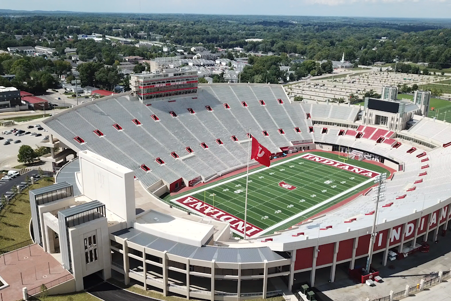 A bird's eye view of an empty Memorial Stadium.