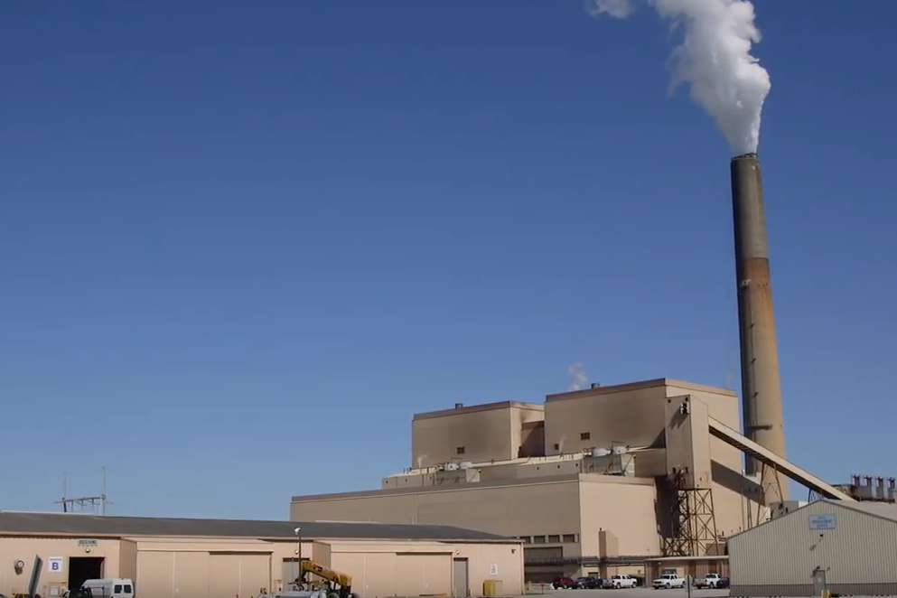 A screenshot of a YouTube video by MyHoosierEnergy about Hoosier Energy's Merom Generating Station.