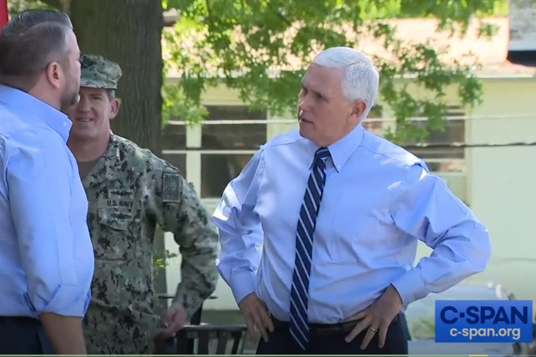 A screenshot of a user-generated C-SPAN video in which Vice President Mike Pence delivers PPE.