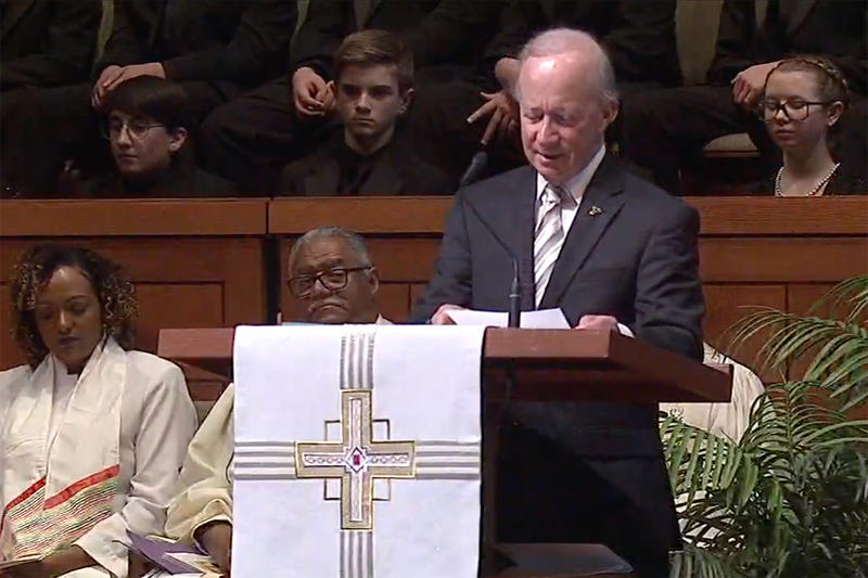 Former Gov. Mitch Daniels speaks at former U.S. Sen. Richard Lugar's funeral in Indianapolis.
