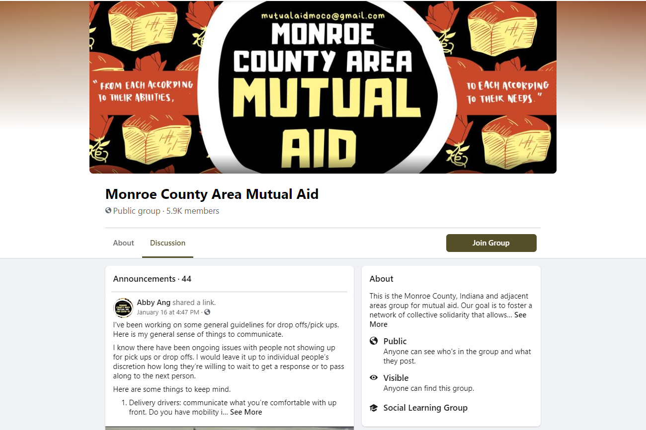 A screenshot of the Monroe County Mutual Aid Facebook page.