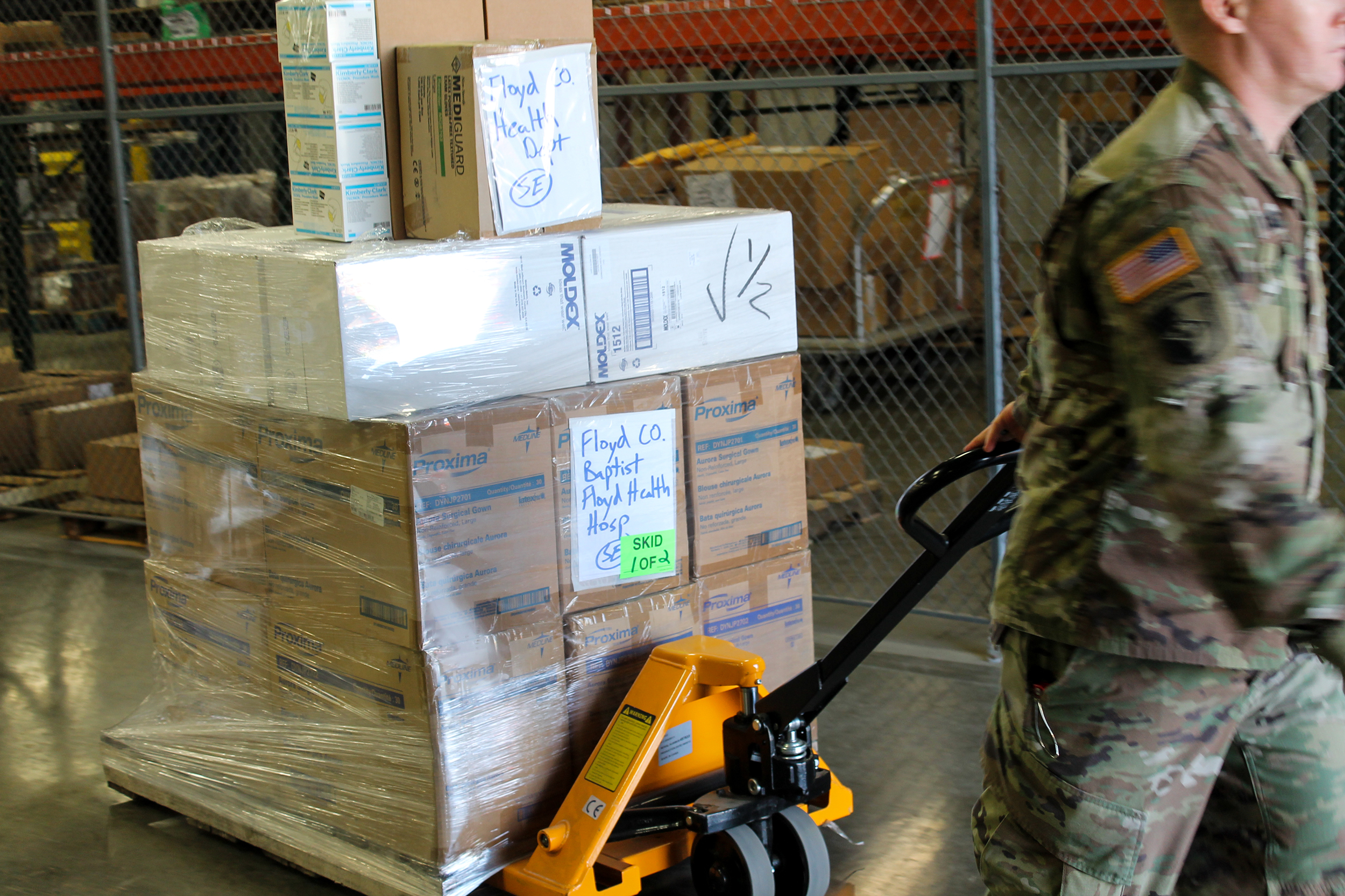 National Guard shipping supplies