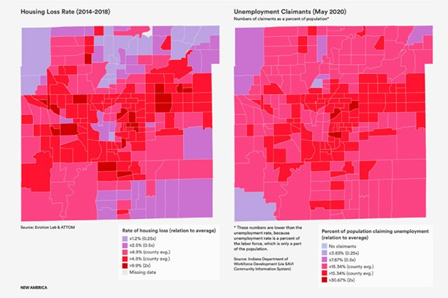 In a SAVI mapping project from Indiana University's Polis Center, census tract-level accounting of unemployment claims helps to spatialize pandemic-related job loss in a similar manner to how our housing loss index spatially visualizes displacement.