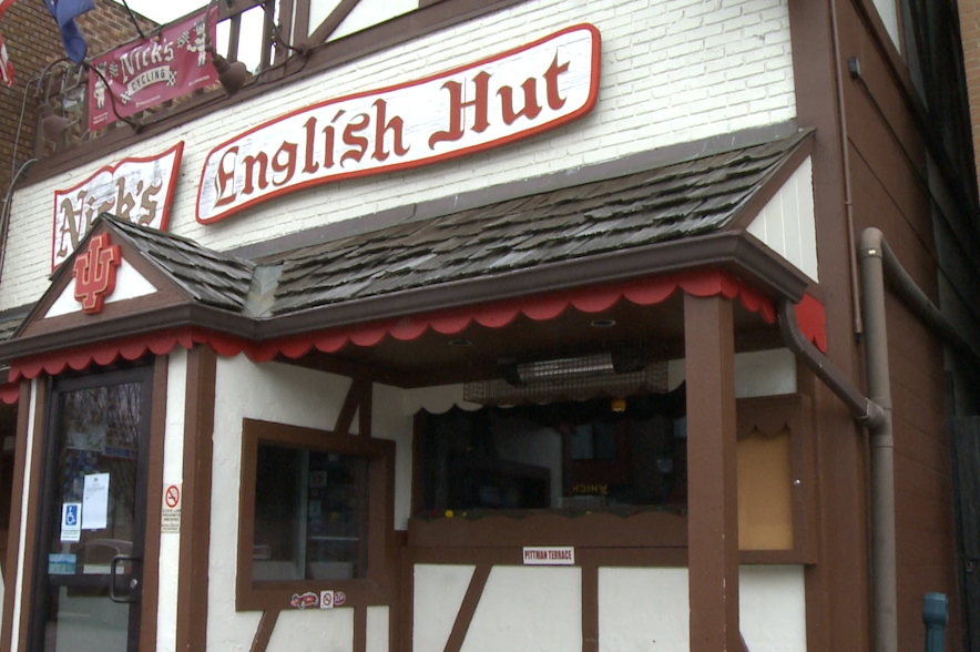 This is an exterior picture of Nick's English Hut.