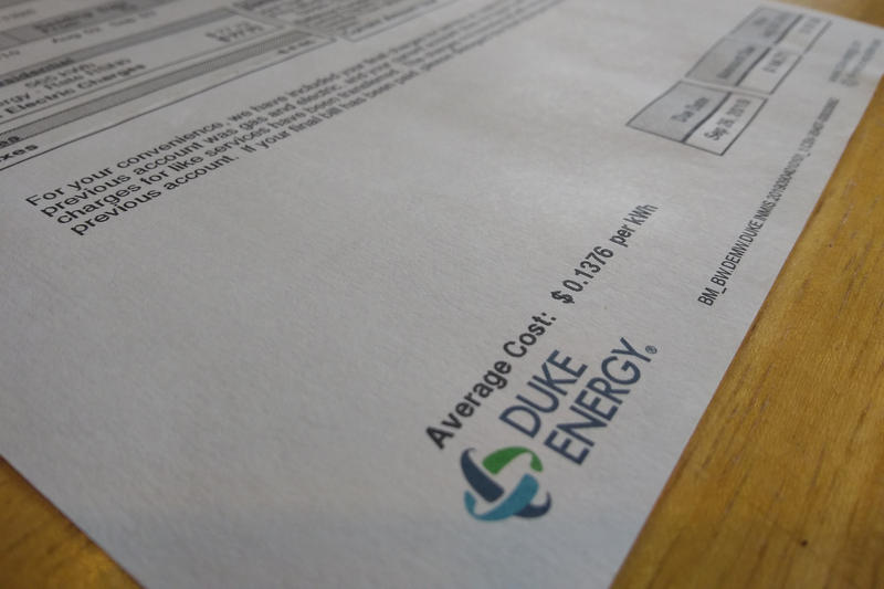 A photo of a Duke Energy electric bill.