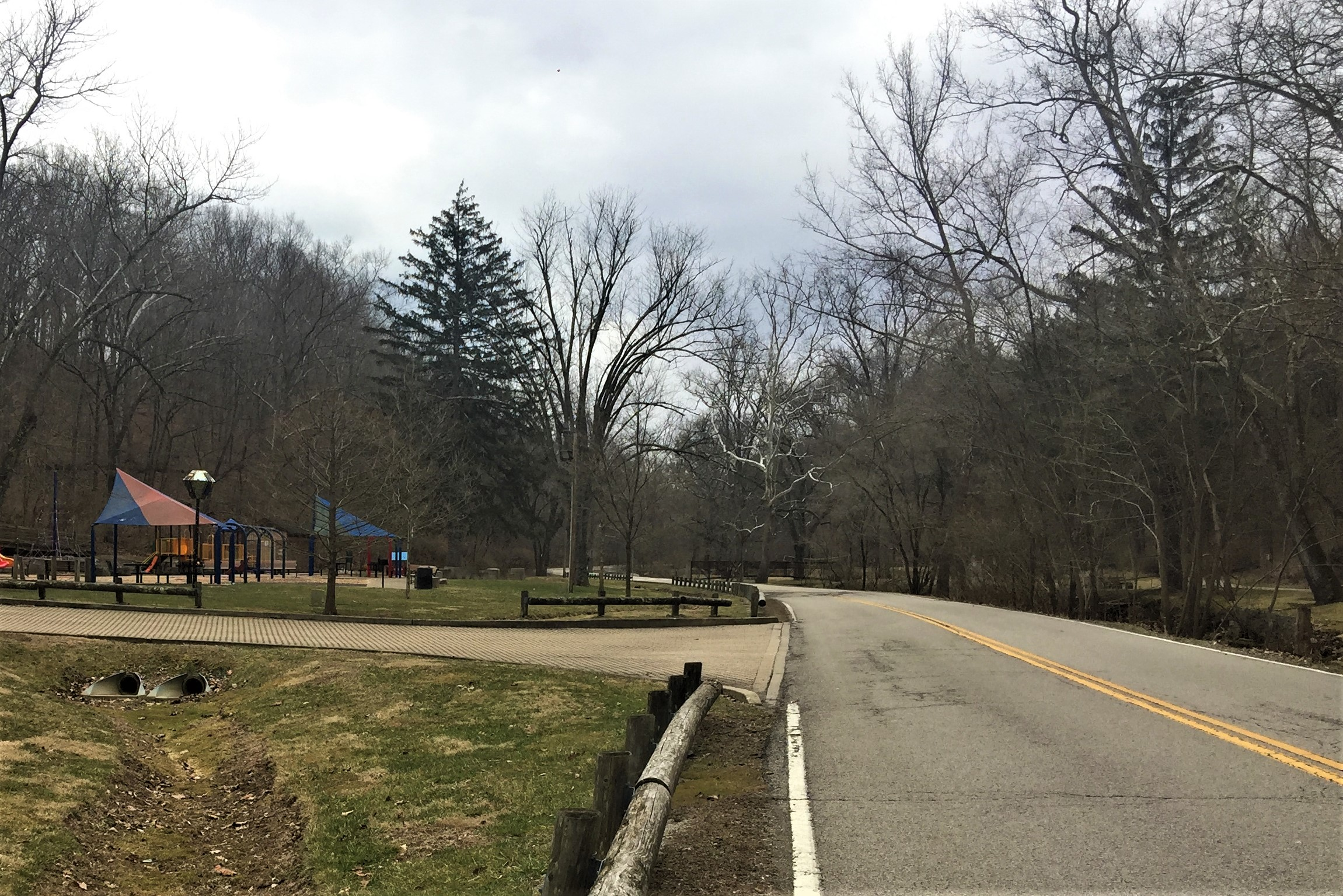 A photo looking south on Old State Road 37 near the playground in Lower Cascades Park in Bloomington.