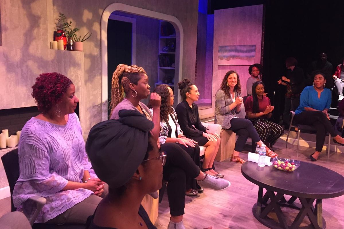 Actors, community members and researchers joined a talk-back after the performance of One Blood.