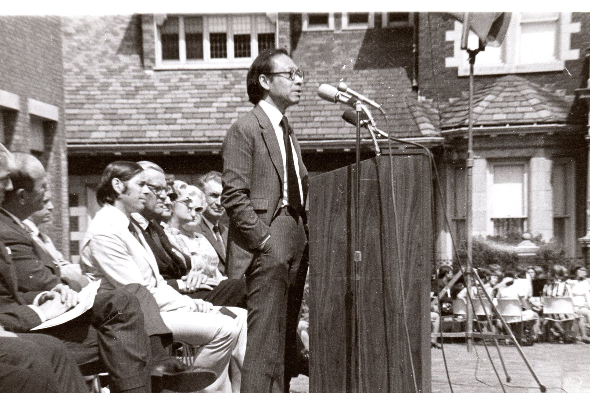 Architect I.M. Pei speaks at the dedication of the Cleo Rogers Memorial Library, which he designed, in May 1971. Columbus, Ind.