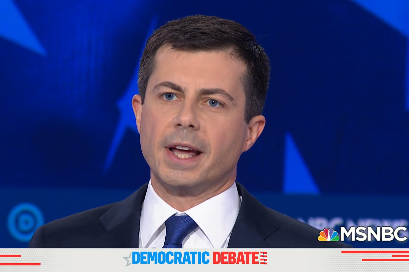 A screenshot of Pete Buttigieg at the Nov. 20 MSNBC Democratic Presidential Debate.