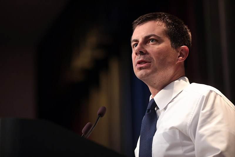 Mayor Pete Buttigieg speaking with attendees at the 2019 Iowa Federation of Labor Convention hosted by the AFL-CIO at the Prairie Meadows Hotel in Altoona, Iowa.