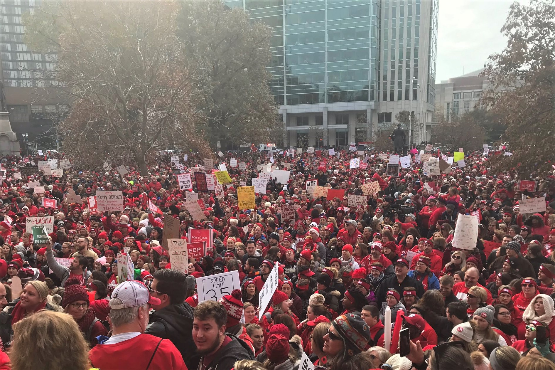 Teachers and students rally outside the Indiana Statehouse in November 2019.