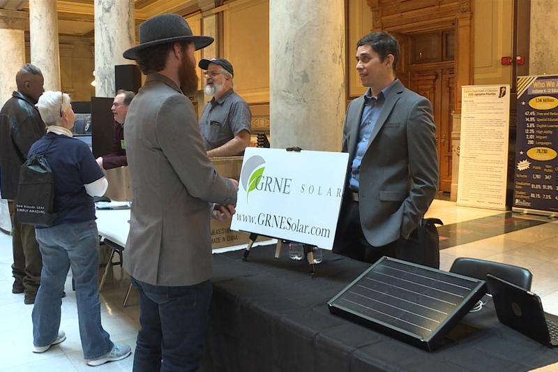 Booths at the 2020 Renewable Energy Day at the Indiana Statehouse