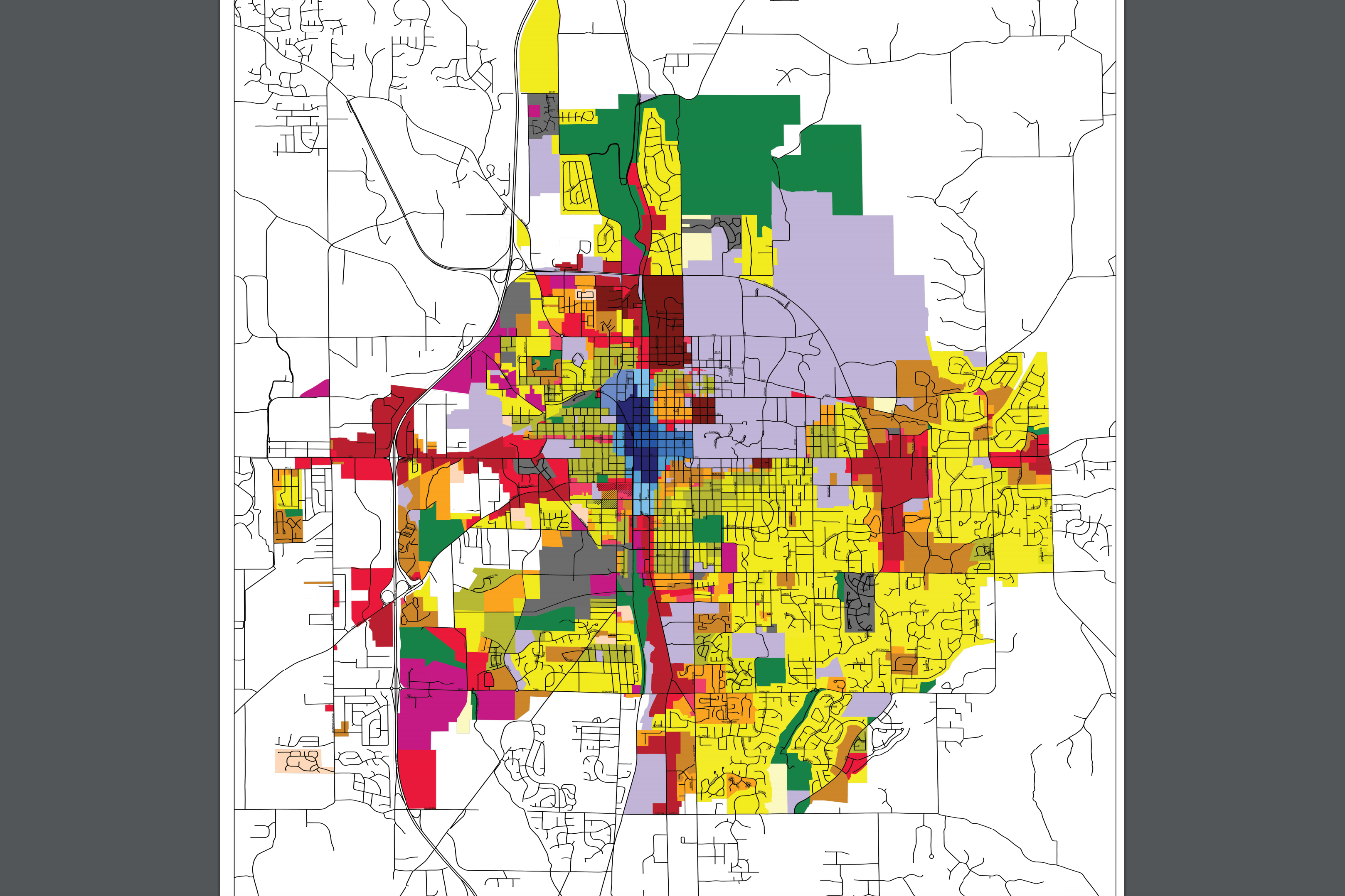 A screenshot of Bloomington's revisedUnified Development Ordinance map.