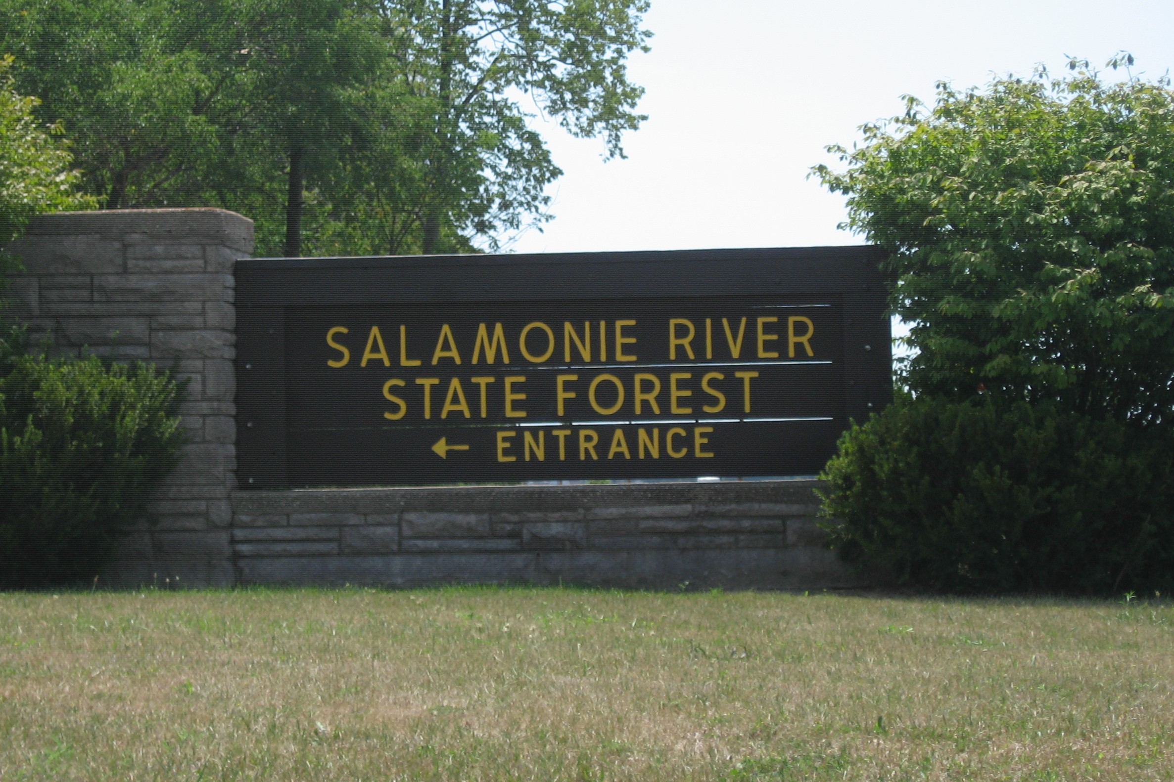 A sign for Salamonie River State Forest in Wabash County.