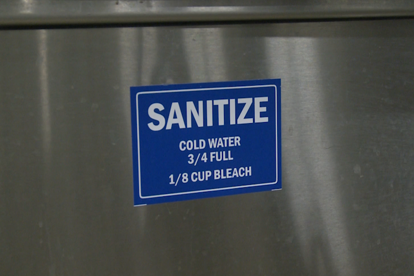 This is a sign that says to sanitize kitchen equipment.