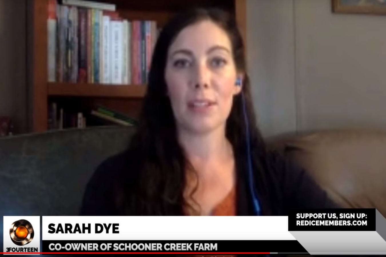 A screenshot of Sarah Dye during her interview with Red Ice TV host Lana Lokteff.
