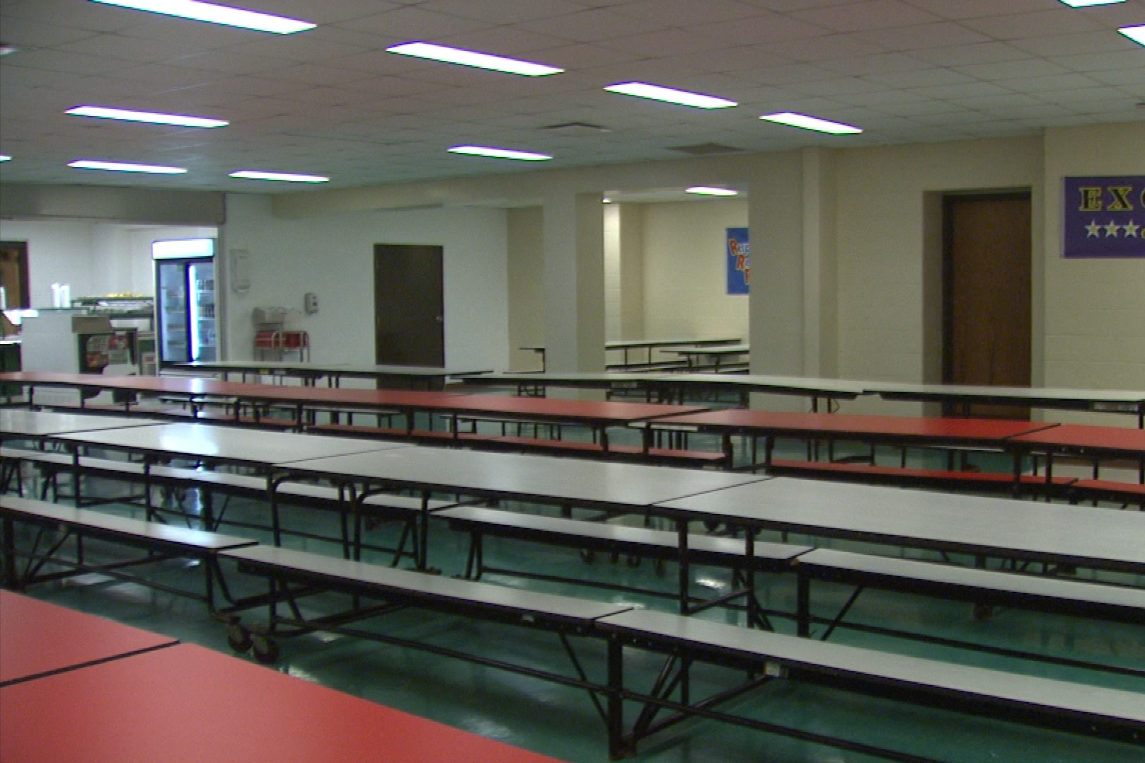 An empty school cafeteria.