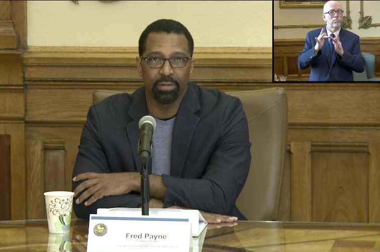 Fred Payne, commissioner of the Indiana Department of Workforce Development, gives an update on the agency's actions at a virtual press conference.