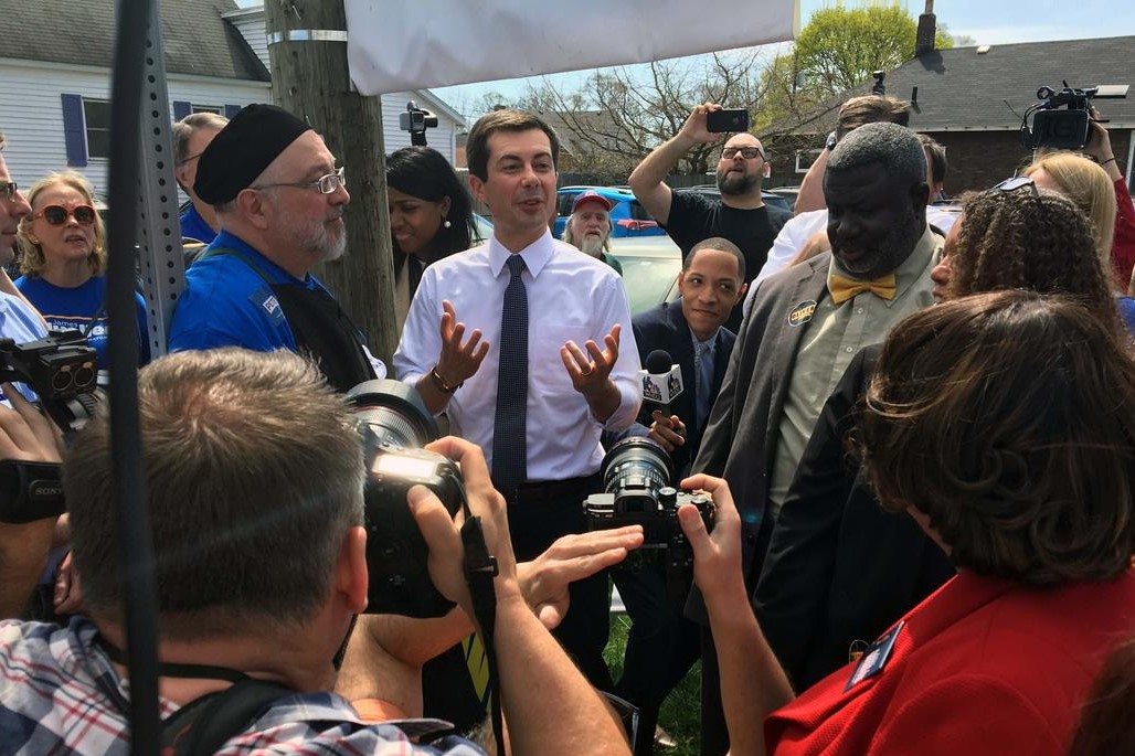 Presidential candidate Pete Buttigieg speaks at a Dyngus Day event.