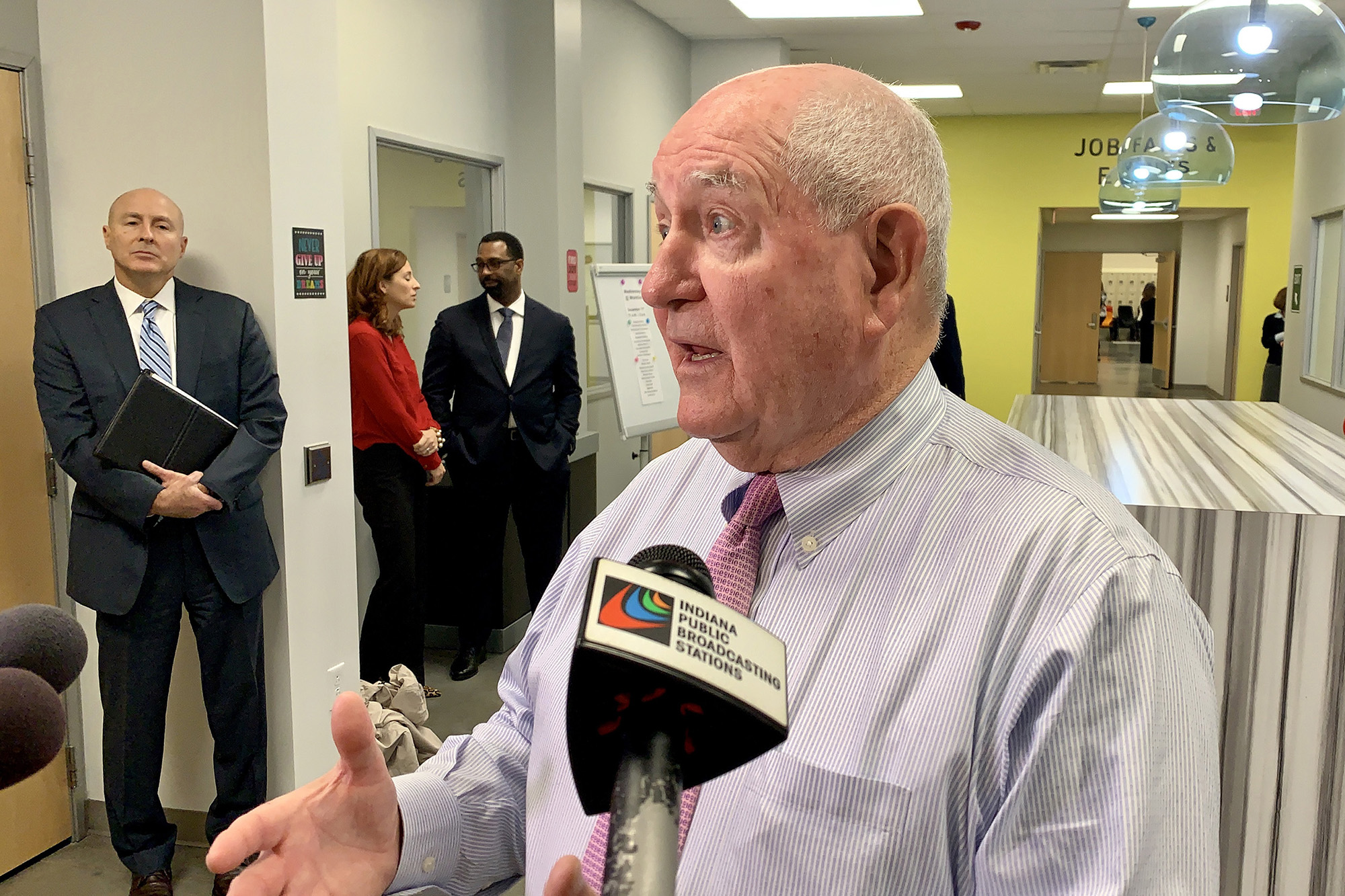 U.S. Agriculture Secretary Sonny Perdue, whose department oversees SNAP benefits, or food stamps, speaks with the media at a WorkOne center in Indianapolis.