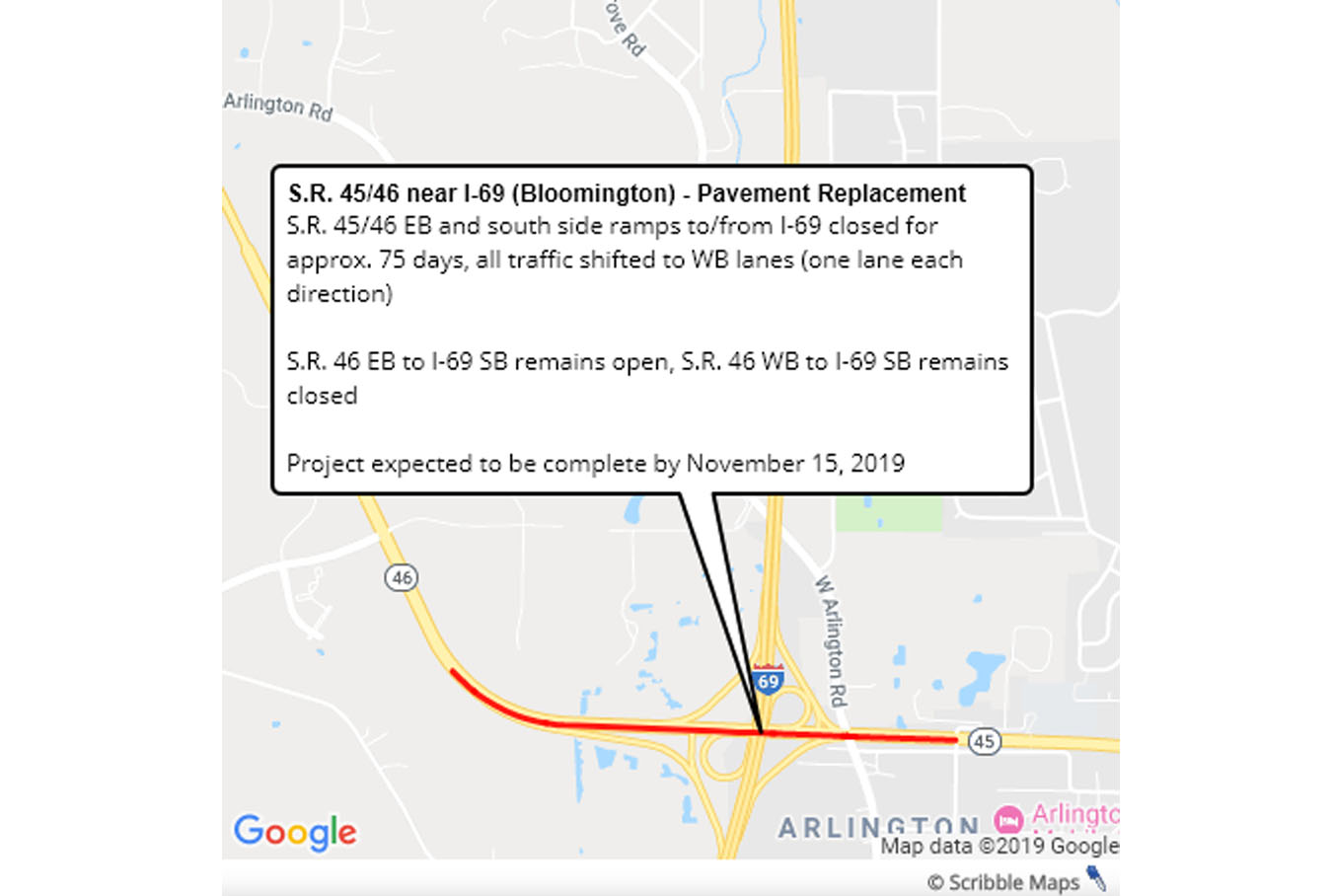 A map of SR 45/46 near I-69 where pavement replacement is scheduled starting Aug. 15 and ending Nov. 15, 2019.