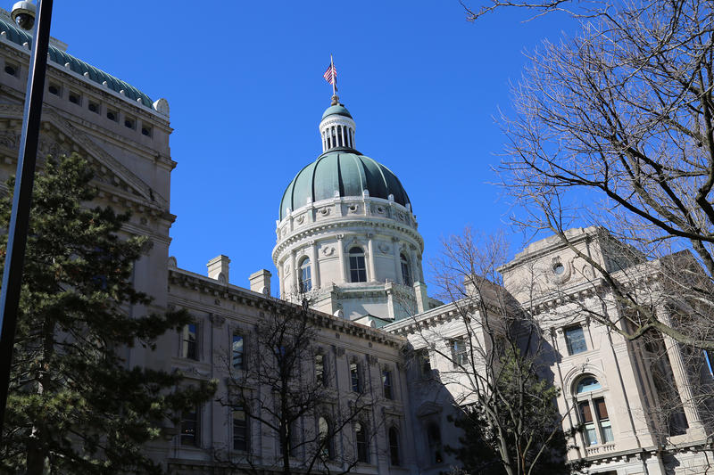 The Indiana Statehouse in early spring.