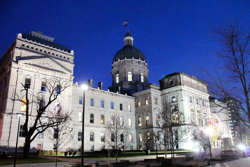 The Indiana Statehouse in the winter with no snow.