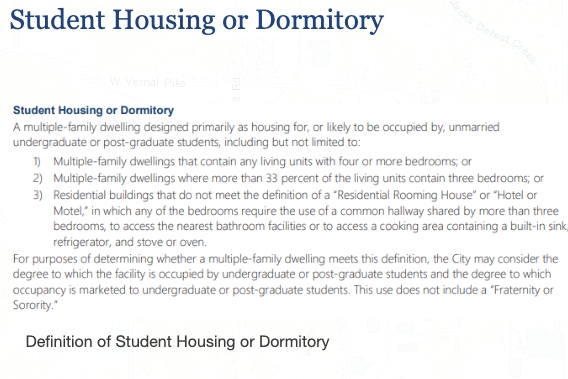 The definition of student housing in Bloomington's proposed UDO.