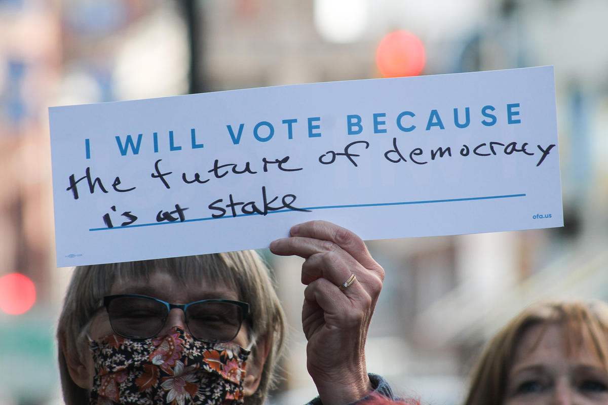 """I will vote because the future of democracy is at stake"" sign"