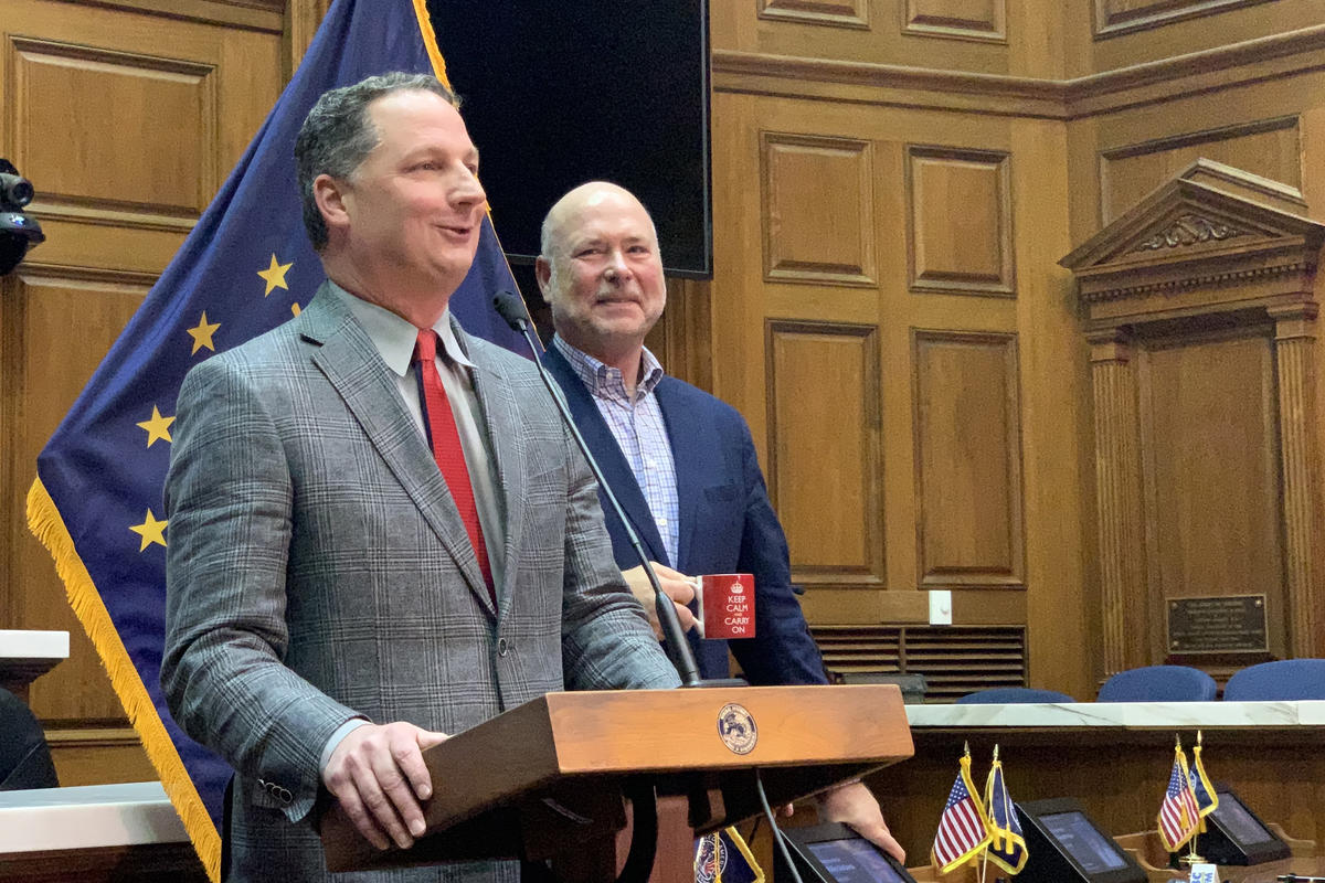Rep. Todd Huston (R-Fishers), left, and House Speaker Brian Bosma (R-Indianapolis)