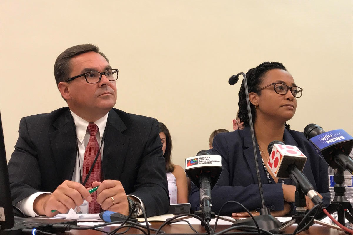 DCS Associate Director Todd Meyer and Director Terry Stigdon testify at a legislative study committee in Sept. 2018.