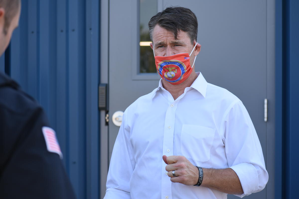 U.S. Sen. Todd Young (R-Ind.) wears a mask.